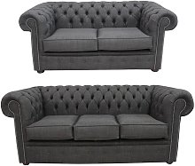 Grey Fabric Chesterfield 3 Seater + 2 Seater Sofa