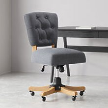 Grey Fabric Office Chair Swivel Desk Armchair