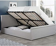 Grey Fabric Ottoman Bed, Happy Beds Stratus Sleigh