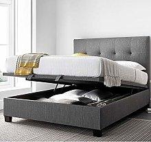 Grey Fabric Ottoman Storage Bed, Happy Beds Yorkie