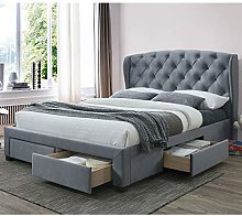 Grey Fabric Storage Bed, Happy Beds Hope 4 Drawer