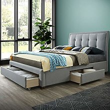 Grey Fabric Storage Bed, Happy Beds Shelby 3