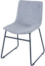 grey fabric upholstered dining chairs with black