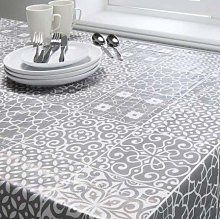 Grey Geo Print Wipeable Tablecloth Water Proof