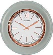 Grey & Gold Round Wall Clock
