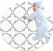 grey gray rug,White Retro Geometric Texture Round