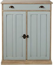 Grey green storage cabinet with 2 doors and 1