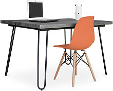 Grey Hairpin 120x90 Desk + Deswick Chair Orange