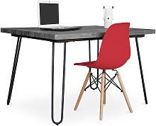 Grey Hairpin 120x90 Desk + Deswick Chair Red