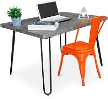 Grey Hairpin 120x90 Desk + Tolix Chair Orange