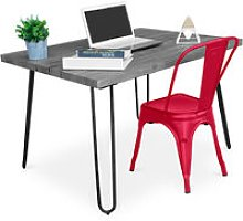 Grey Hairpin 120x90 Desk + Tolix Chair Red