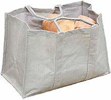 Grey Kindling Carrier Log Bag - Natural Jute