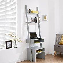 Grey Ladder Modern Style 3 Tier Computer Study