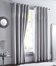 GREY LINED CURTAINS EYELET RING TOP Luxury Faux