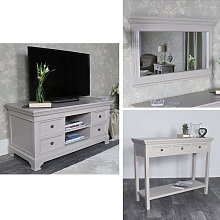 Grey Living Room Furniture, TV Cabinet, Console