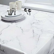 Grey Marble Print Wipeable Tablecloth Water