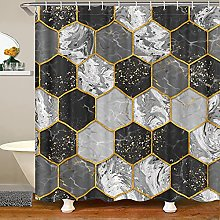 Grey Marble Shower Curtains Honeycomb Pattern