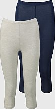 Grey Marl & Navy Cropped Leggings 2 Pack - 12-14