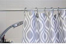 Grey Medallion Textile Shower Curtian - AF290231H