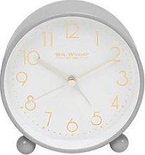 Grey Metal Alarm Clock With Gold Dial