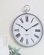 Grey Metal Fob Wall Clock