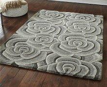 Grey Modern Luxury Wool Rug With Large Flowers