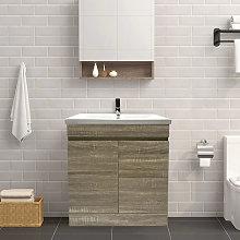 Grey Oak Bathroom Vanity Sink Unit Basin Storage
