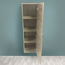 Grey Oak Effect 1200mm Tall Cupboard Wall Hung