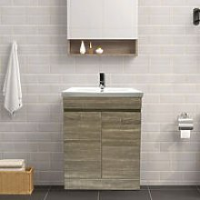 Grey Oak Effect Bathroom Vanity Sink Unit Basin