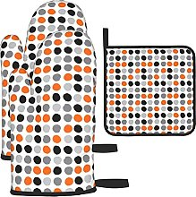 Grey Orange Black Painted Dots Oven Mitts and Pot
