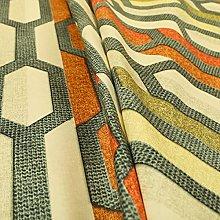 Grey Orange Green Colour Geometric Stripe Print