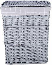 Grey Paint Laundry Wicker Basket Cotton Lining