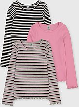 Grey & Pink Ribbed Tops 3 Pack - 12 years