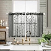 Grey Sheer Tier Curtains 24 inch Length for