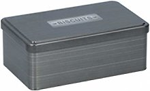 Grey/Silver Biscuit Canister Airtight Rectangular