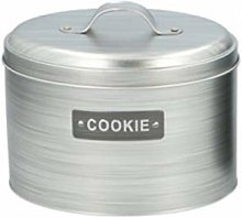 Grey Silver Cookie Canister Airtight Oval Metal