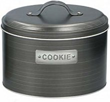 Grey/Silver Cookie Canister Airtight Oval Metal