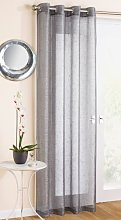 Grey Sparkle Voile Curtain Panel Eyelet Heading 54