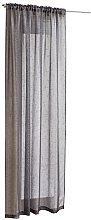 Grey Sparkle Voile Curtain Panel Slotted Top