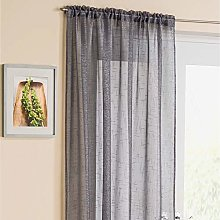 Grey Sparkle Voile Curtain Panel Slotted Top 54