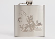Grey Stainless Steel Fisherman Hip Flask - One Size