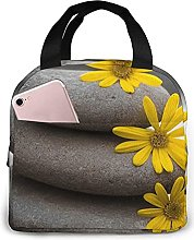 Grey Stone and Yellow Flowers Lunch Bag Tote Bag