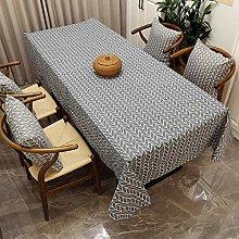 Grey striped tablecloth rectangular pillow cover