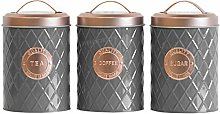 Grey Tea Coffee Sugar Storage Canister with Copper