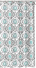 Grey Teal White Fabric Shower Curtain: Floral