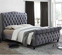 Grey Velvet Fabric Sleigh Bed, Happy Beds Colorado