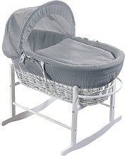 Grey Waffle White Wicker Moses Basket and Rocker