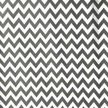 Grey/White - Printed Polycotton Fabric 6mm CHEVRON