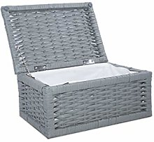 Grey Wicker Basket with Lid Underbed Storage