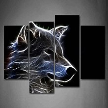 Grey Wolf Wall Art Painting Pictures Print On